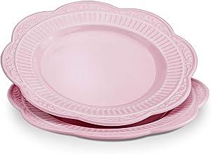 STAR MOON Ceramic Dinnerware Set Plates Dishes Pink Set of 2 for Pasta Salad, Dishware, 8.86 Inches, Dishwasher & Microwave Safe, Vintage Embossed Roman Pattern, Pink (Set of 2)
