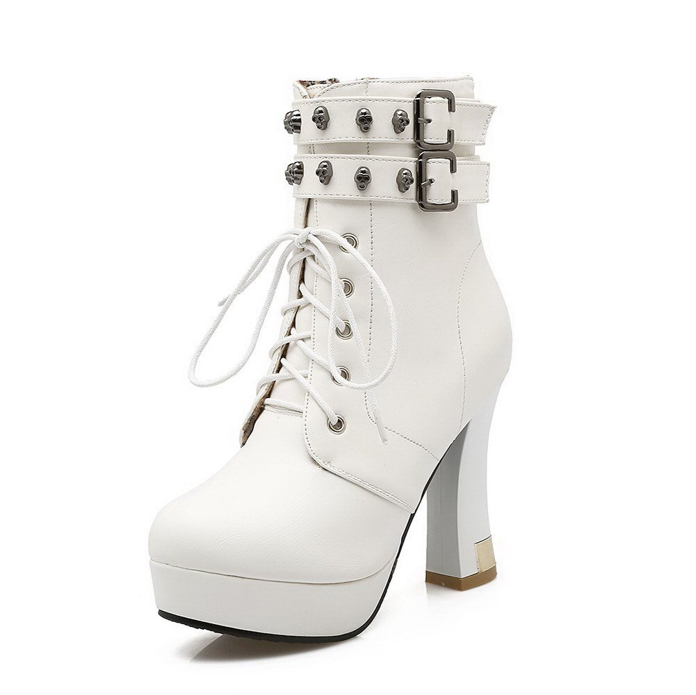 VogueZone009 Womens Round Closed Toe High-Heels Pu Zipper Low-Top Solid Boots, White-Skull Heads, 35 by VogueZone009