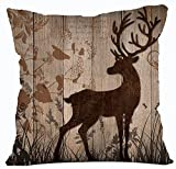 Retro Vintage Wood Grain Background Wildlife Tree Forest Bush Bucks Moose Elk Cotton Linen Throw Pillowcase Personalized Cushion Cover NEW Home Office Decorative Square 18 X 18 Inches