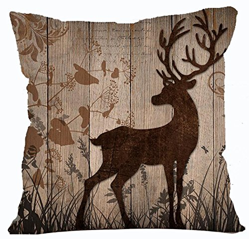 Andreannie Retro Vintage Wood Grain Background Wildlife Tree Forest Bush Bucks Moose Elk Cotton Linen Throw Pillowcase Personalized Cushion Cover NEW Home Office Decorative Square 18 X 18 (New Elk)