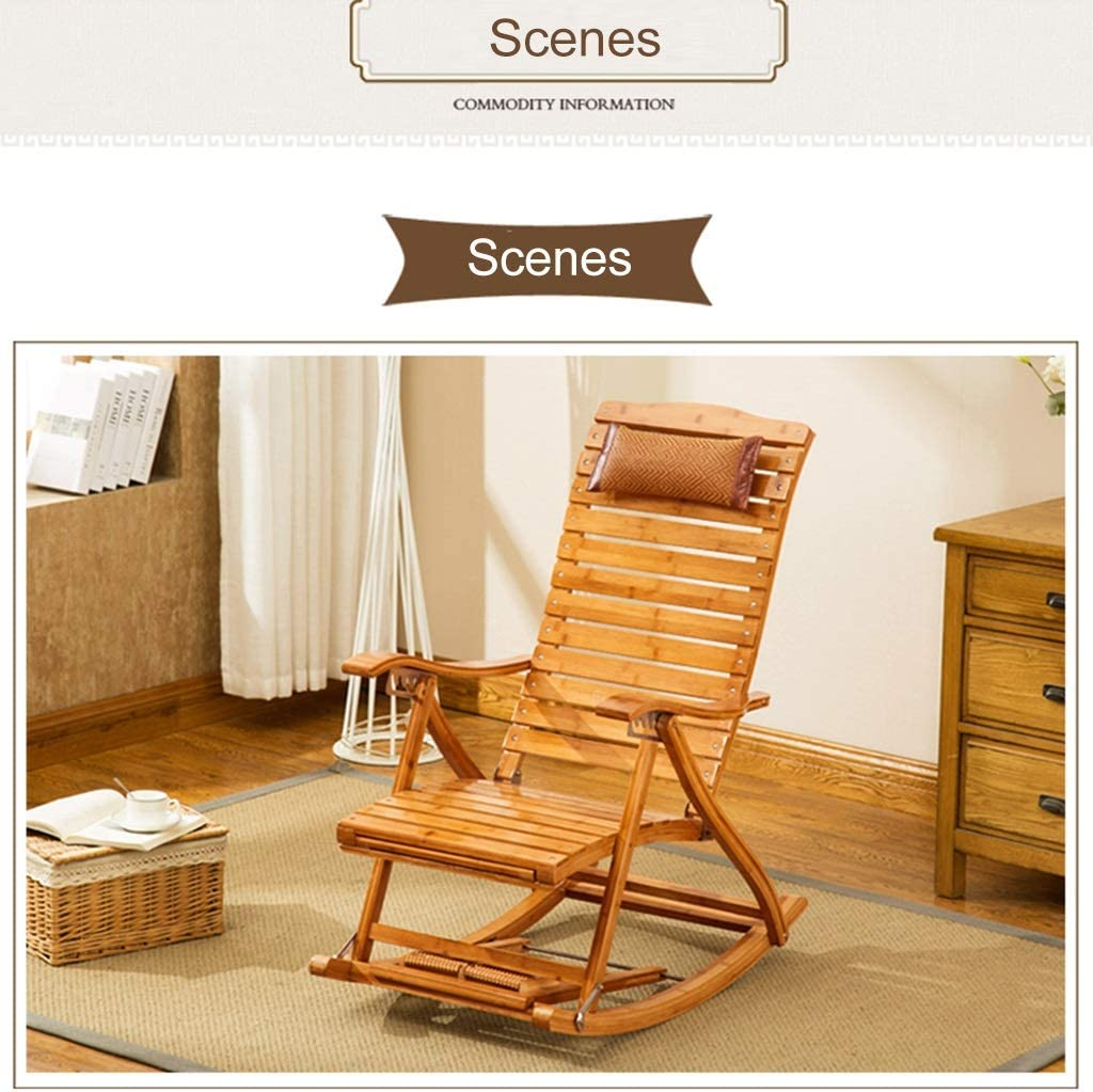 Color : Wood Color, Size : 162cm*40cm*100cm Chairs Sofas Home Balcony nap Chair Old Man Recliner Rocking Chair Folding Wooden Lounge Chair Adult Garden Reclining Folding Chair