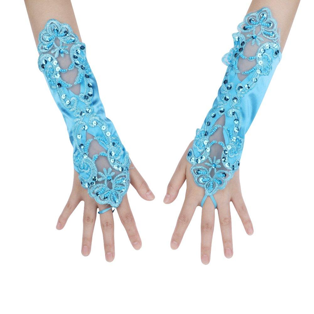 Lady Finger Loop Gloves Bridal Fingerless Satin Gloves Wedding Dress Short Lace Gloves Fancy Costume Princess Etiquette Gloves Dress Up Gloves for Christening Evening Pageant Sequin Decoration