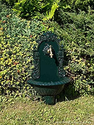 Fuente de Pared para jardín con Pila Estilo Antiguo - Aluminio Fundido - Verde: Amazon.es: Productos para mascotas