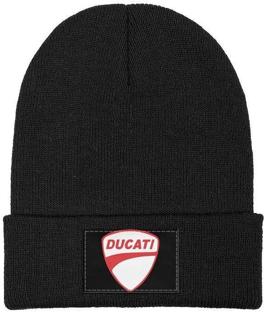 Men Ducati-Motorcycle-Logo Wool Beanie Cap Knit Caps Fine Knit Beanie HatsWinter Warm
