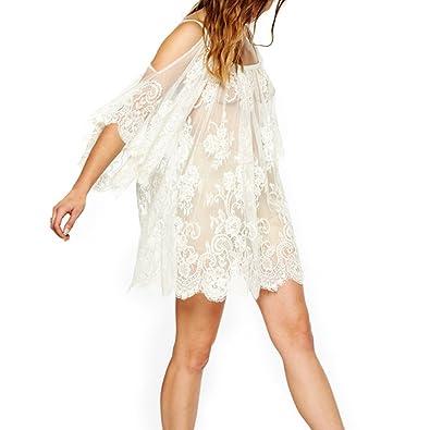 3caec909caf75 Amazon.com: FUNOC Boho Hippie Women Off Shoulder Beach Cover Up Mini Dress  Blouse Shirt: Clothing