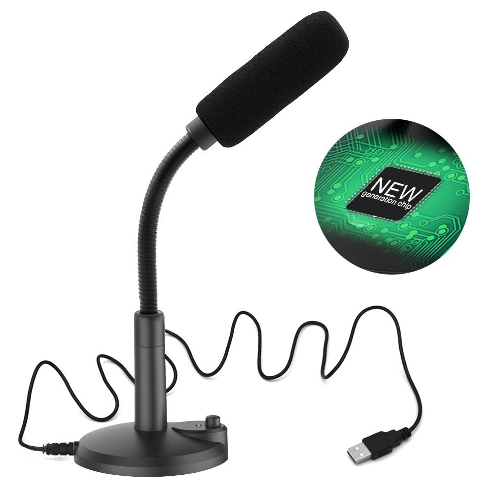 Computer Microphone Plug &Play USB Desktop Microphone ZAFFIRO PC Microphone, with LED Indicator Compatible with Windows/Mac, Ideal for Youtube, Skype, Recording, Games