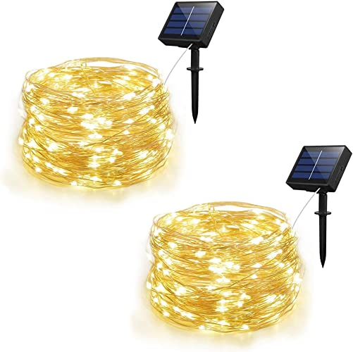 Weepong Solar String Lights Outdoor String lights with 100 LEDs 33ft Silver Copper Wire 8 Modes Waterproof Solar Starry Lights for Wedding Garden Home Patio Lawn Trees Warm White 2 Pack