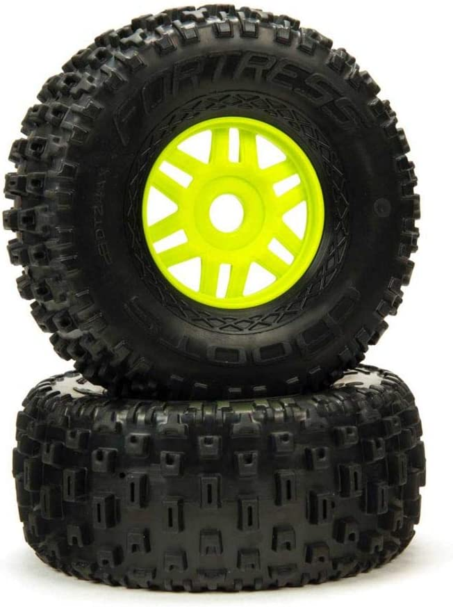 Green ARA550068 2 ARRMA 1//8 dBoots Fortress Front//Rear 2.4//3.3 Pre-Mounted Tires 17mm Hex