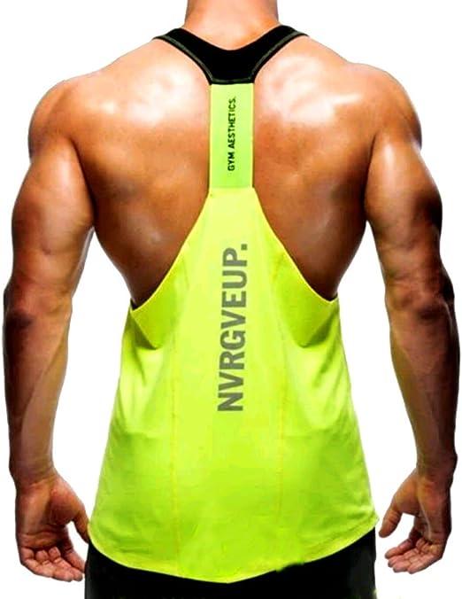 A Sport Camisa Camiseta Hombre Tirantes Culturismo Fitness Deportiva Castigador//Negra M Ropa Deporte Masculina para Entrenar Gym