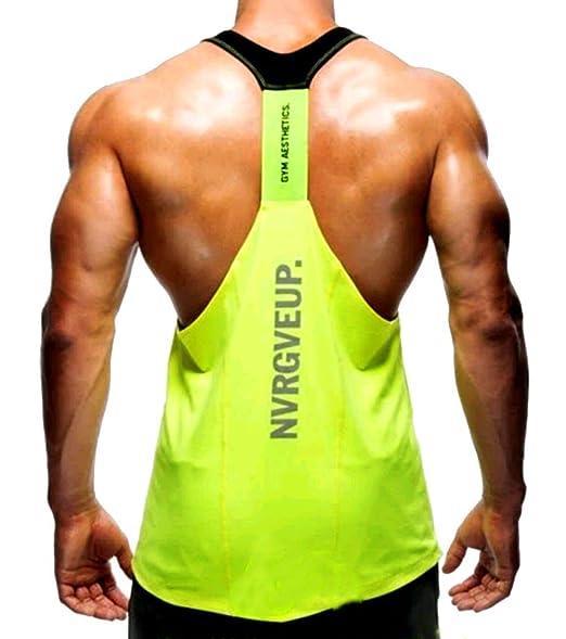 A. M. Sport Camisa Camiseta Hombre Tirantes Culturismo Fitness Deportiva. Ropa Deporte Masculina para Entrenar Gym (EA/Amarilla) - XXL: Amazon.es: Ropa y ...
