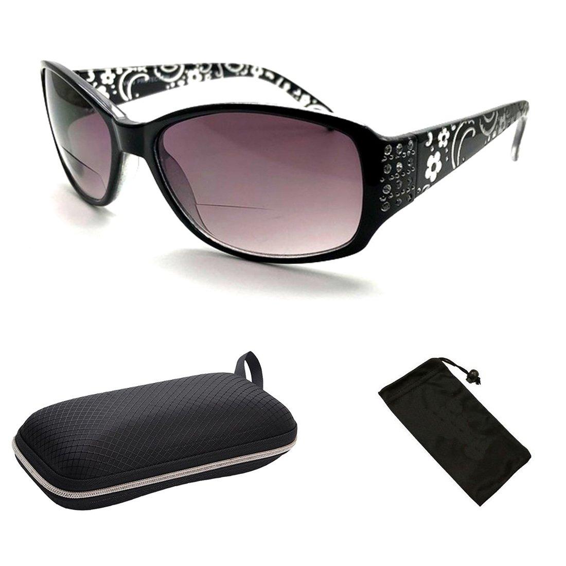 Fashion Designer Sun Readers Women Bifocal Sunglasses + Reading Glasses All in One … (Black, 2.50)