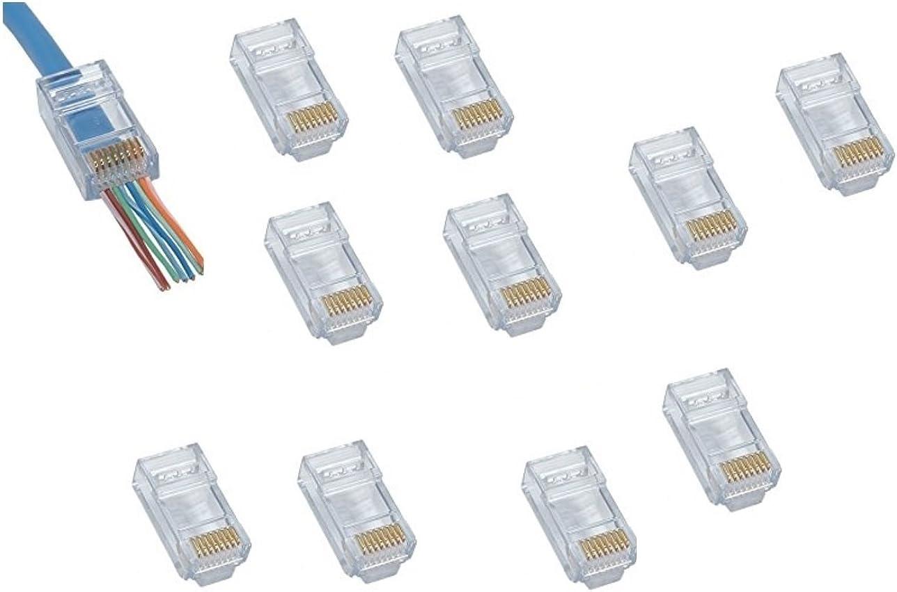 Deet® RJ45 CAT6 - Pack de 10 conectores de engaste paso final a través de Ethernet modular Plug EZ