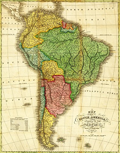 South America - Panoramic Map Art Print, Wall Decor Travel Poster