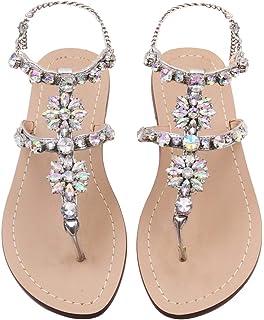 JF shoes Women s Crystal with Rhinestone Bohemia Flip Flops Summer Beach T-Strap  Flat Sandals 547a1641125e
