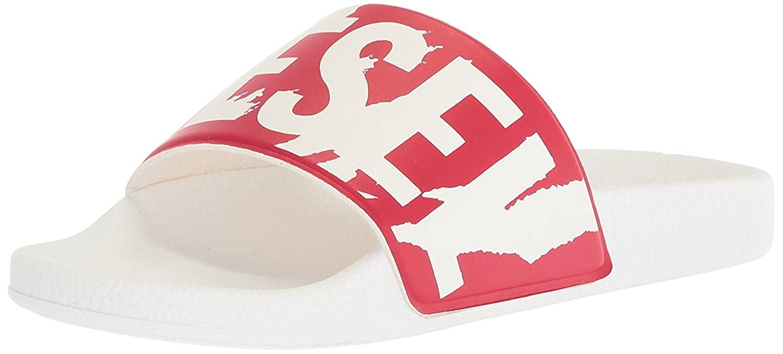 #Diesel A-Lohaa SA-Maral White Red Mens Beach Flip Flops