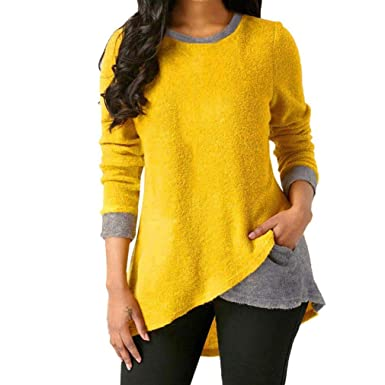 Keliay Womens Long Sleeve Stitching Tops Winter Warm Blouse Fleece Pullover Top S