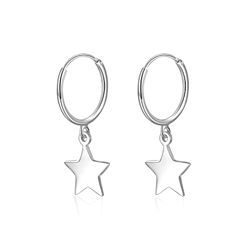 82273eace Amazon.com: Star Hoop Earrings Sterling Silver Mini Dangle Small Star Hoop  Huggie Earrings for Women Girls: Jewelry