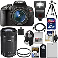 Canon EOS Rebel T5i Digital SLR Camera & 18-55mm IS & 55-250mm IS STM Lens + 32GB Card + Battery + Backpack + Flash + Tripod + Kit Overview Review Image