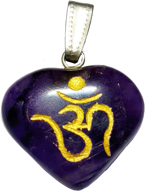 NK CRYSTALS Green Aventurine Heart Crystal Pendant Indian Reiki Healing Stones Natural Palm Worry Stone Charm Tumblestones Om Gem Spiritual Gifts