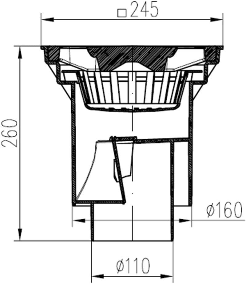 portata fino a 1500 kg Scarico per cantina 245 x 245 mm 328 P in plastica