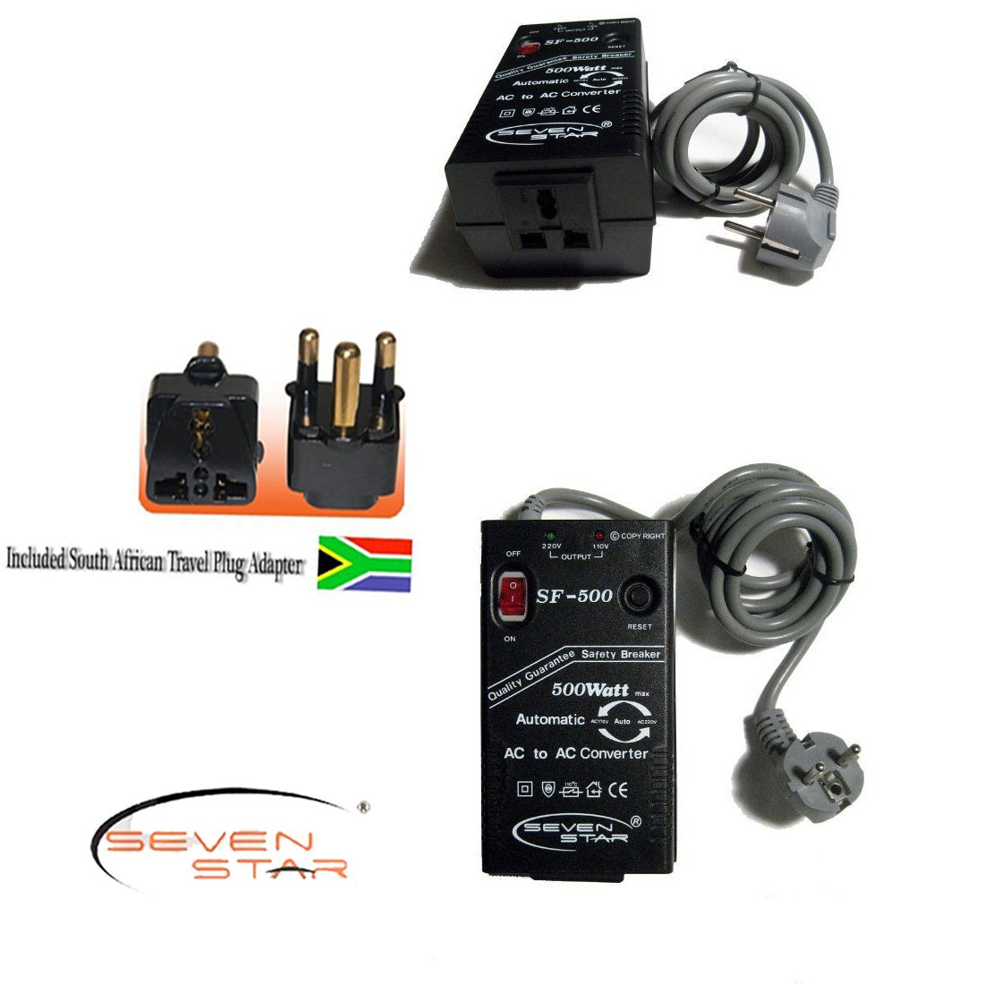 Seven Star SF500 500W 110v/220v 220v/110v Step Up/Down Automatic Transformer Adapter + South Africa Travel Adapter Plug