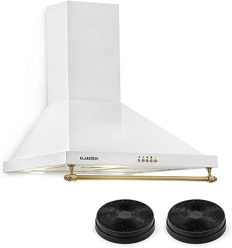 Klarstein Montblanc 60 - Campana extractora de humos, Extractor de pared, Absorción y ventilación, 3 niveles, 610 m³/h, Filtro de grasa de aluminio, 60 cm, 2 filtros de carbono, Blanco: Amazon.es: Grandes electrodomésticos