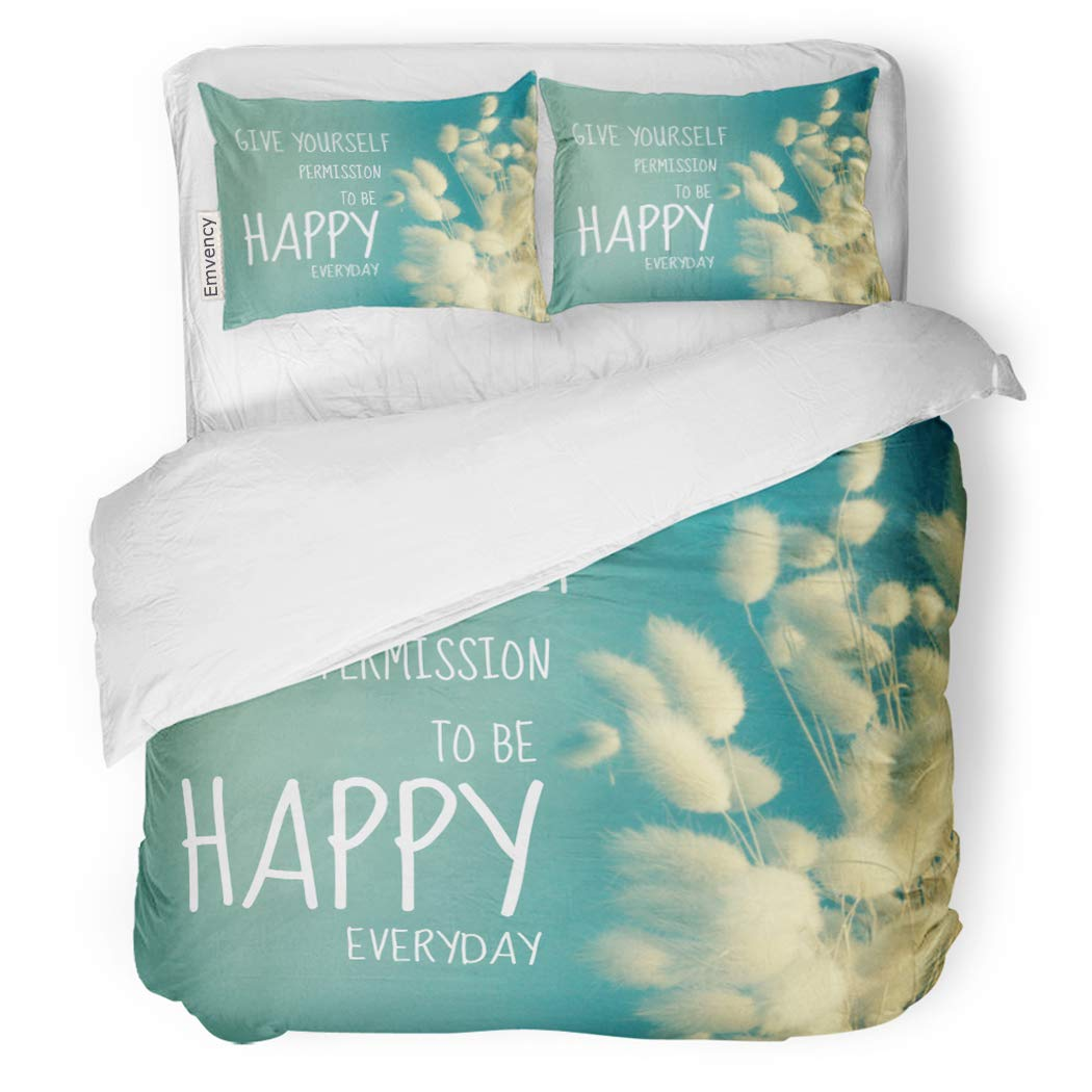 SanChic Duvet Cover Set Happy Inspirational Quote on Kapok Vintage Filter Everyday Decorative Bedding Set with 2 Pillow Shams Full/Queen Size