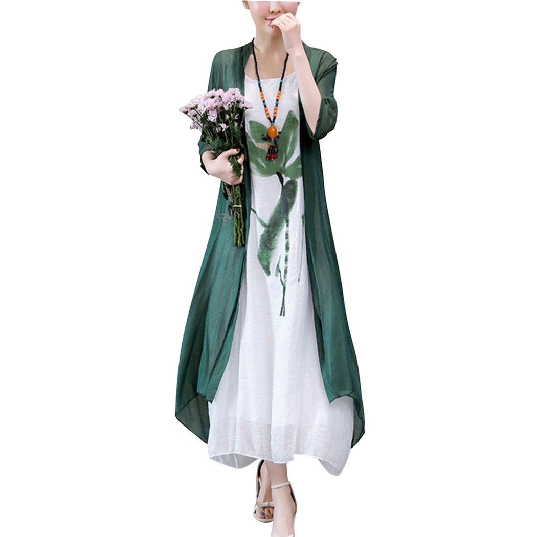 HÖTER Women's Oriental Beauty Folk Style Irregular Maxi Painting Cotton Linen Casual Two Piece Suit Loose Dress