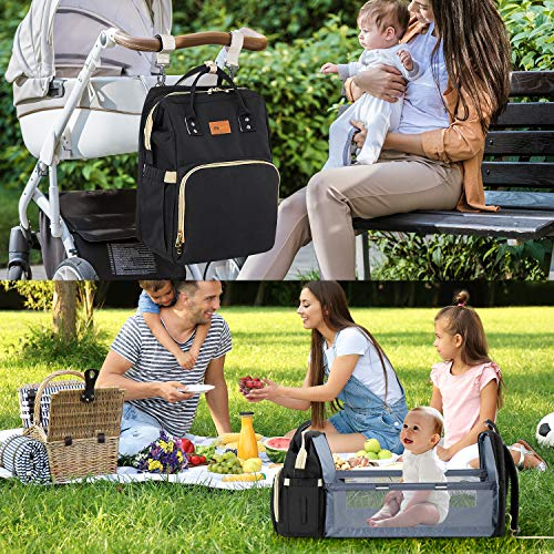 DEBUG Baby Diaper Bag Backpack with Changing Station Diaper Bags for Baby Bags for Boys Diaper Bag with Bassinet Bed Mat Pad Girl Men Dad Mom Travel Waterproof Stroller Straps Large Capacity Green