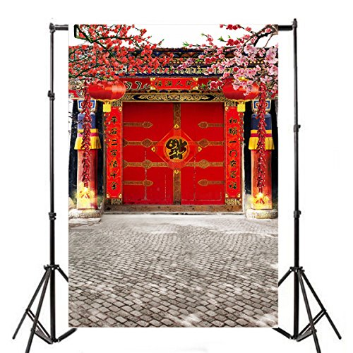 Leyiyi 3x5ft Photography Backgroud Chinese Spring Festival Backdrop Big Red Fu Couplets New Year Scroll Beijing Traditional Buildings Plum Blossom Brick Floor Photo Portrait Vinyl Studio Video Prop (Calligraphy Scroll Symbol)