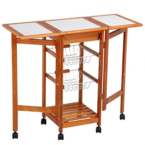 Amazon topeakmart portable folding kitchen cart tile top drop topeakmart portable folding kitchen cart tile top drop leaf kitchen island cart table rolling trolley watchthetrailerfo