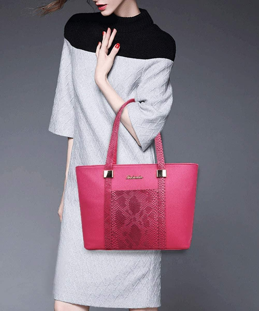Regnkvinnor 6 st väskset sömnad handväska och handväska PU topphandtag väska tygväska kuvertväska plånbok korthållare svart, ros Rosa