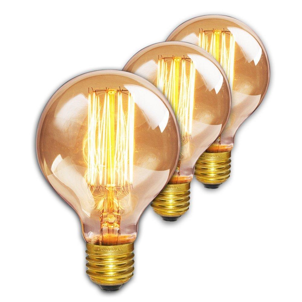rohsce G80 40 W E27 Vintage Classic estilo jaula de ardilla Filamento de Tungsteno bombillas, Edison Bombilla, Retro estilo bombillas incandescentes, 220 V, intensidad regulable, vidrio metal, 1 unidad, E27 220.00 volts 220V