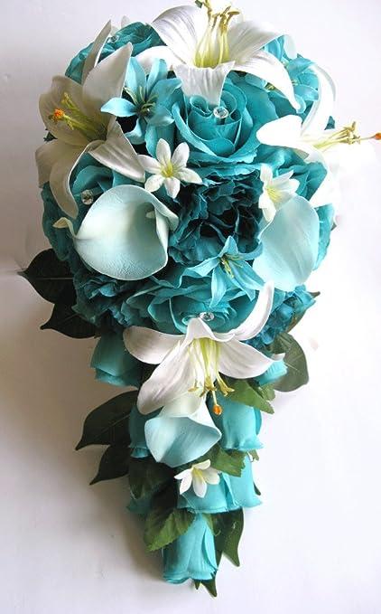 Amazon 17 piece package wedding bouquet bridal bouquets silk 17 piece package wedding bouquet bridal bouquets silk flower cascade turquoise aqua blue teal calla lily mightylinksfo