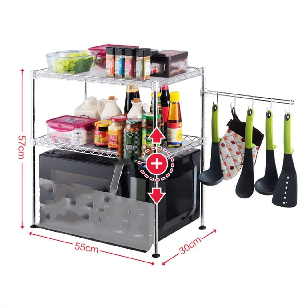 Chuan Han Kitchen Microwave Rack Oven Shelf Seasoning Organizer Stainless Steel Multifunction Home Accessories Save Space Storage 2 Layer 2 Size, b by Chuan Han (Image #7)