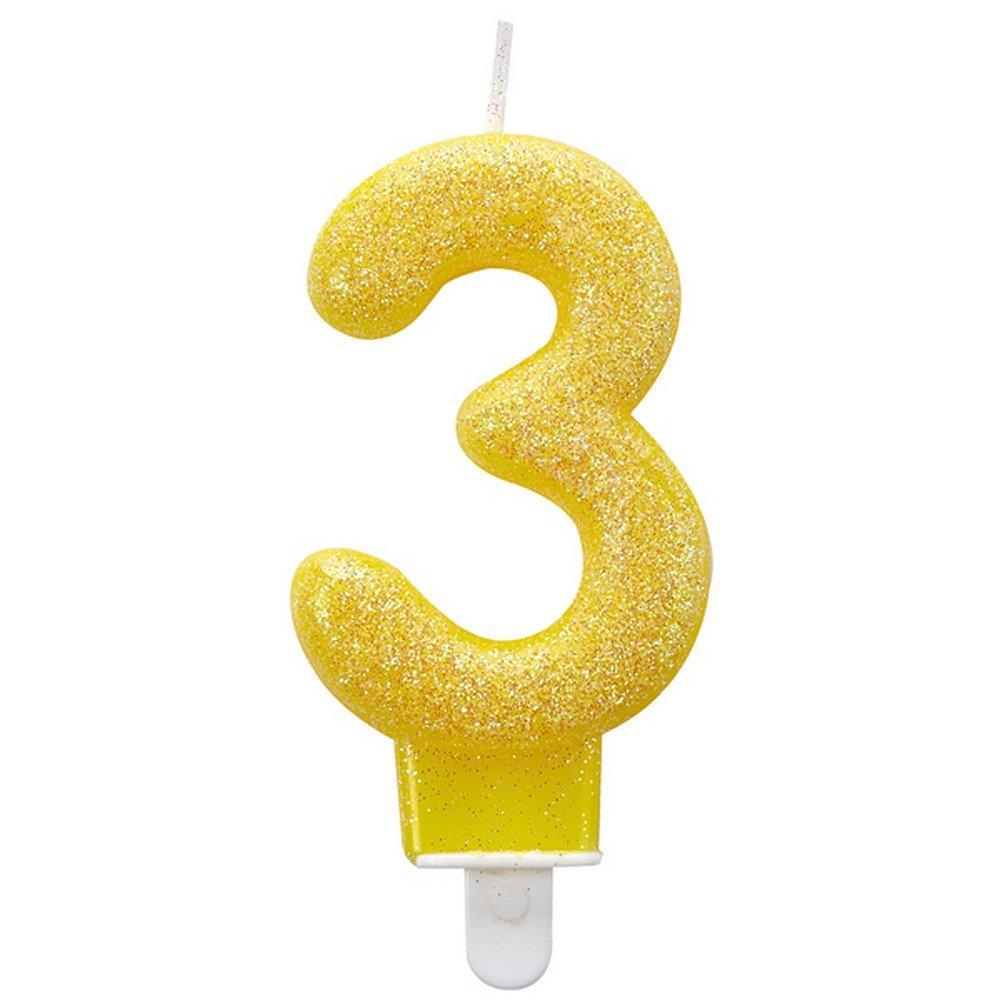 con glitter numero 6 candela per compleanno 9900767 Amscan 7,6 cm