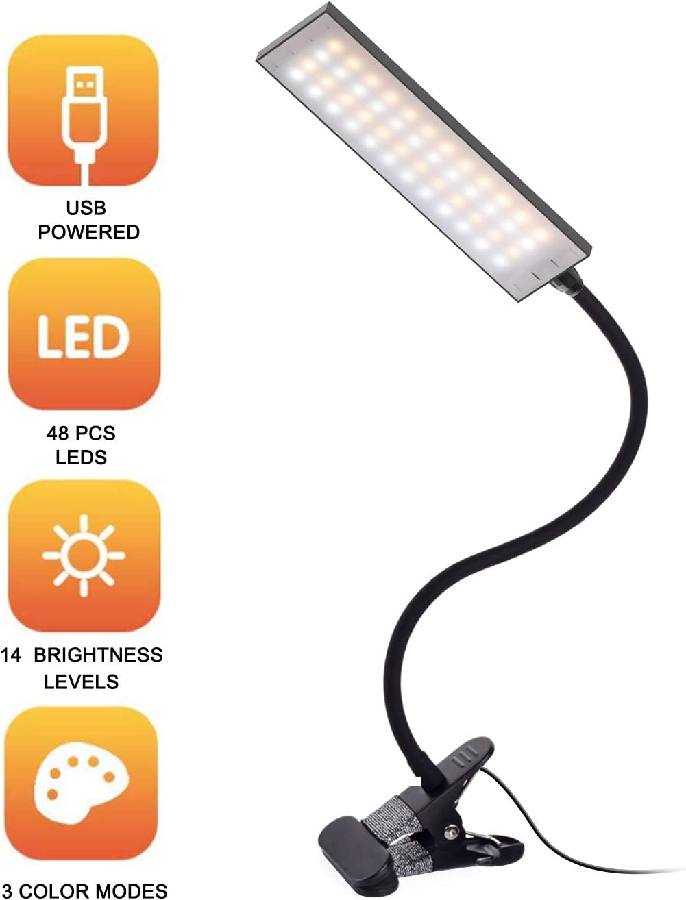 LED Desk Lamp Dimmable Office Home Lamp 14 Level Brightness 3 Color Temperatures 5W LED Reading Light Metal Clip Light USB Powered Flexible Gooseneck Clamp Light, Black
