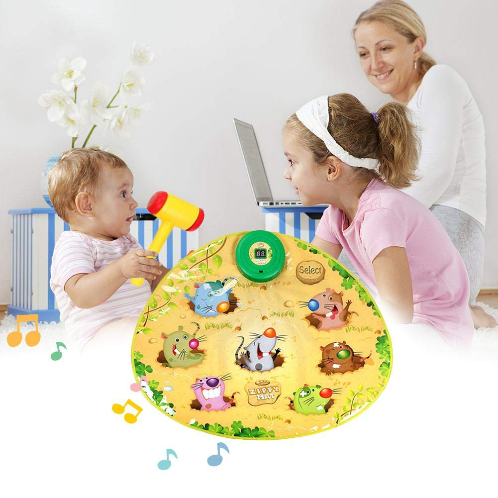 Assiduousic Children's Music Toy Mat, Battery Powered Durable Interesting No Programming Whac A Mole Game Dance Mat Puzzle Music Pad with Hammer, for Baby Toddler by Assiduousic (Image #8)