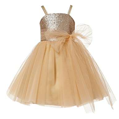 732ca5eb894 Amazon.com  princhar Champagne Sequin Tulle Short Girl Dress Little Girls  Party Toddler Dress  Clothing