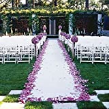 TRLYC 48-Inch by 100-FT Wedding Sequin Aisle Runner Marriage Ceremony White Bridal Carpet Indoor Outdoor