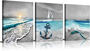 Canvas Wall Art for Home Decoration 3 Piece Modern Painting on Canvas Prints Beach Pictures Gallery Wrapped Artwork for Office Living Room Bedroom Bathroom Wall Decor