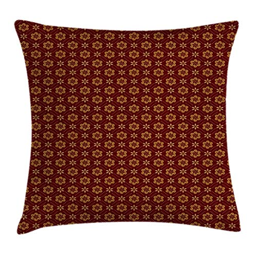 Ambesonne Abstract Throw Pillow Cushion Cover, Dotted Pattern with Swirled Stripes and Flowers in Geometric Illustration, Decorative Square Accent Pillow Case, 18 X 18 Inches, Maroon Pale Brown