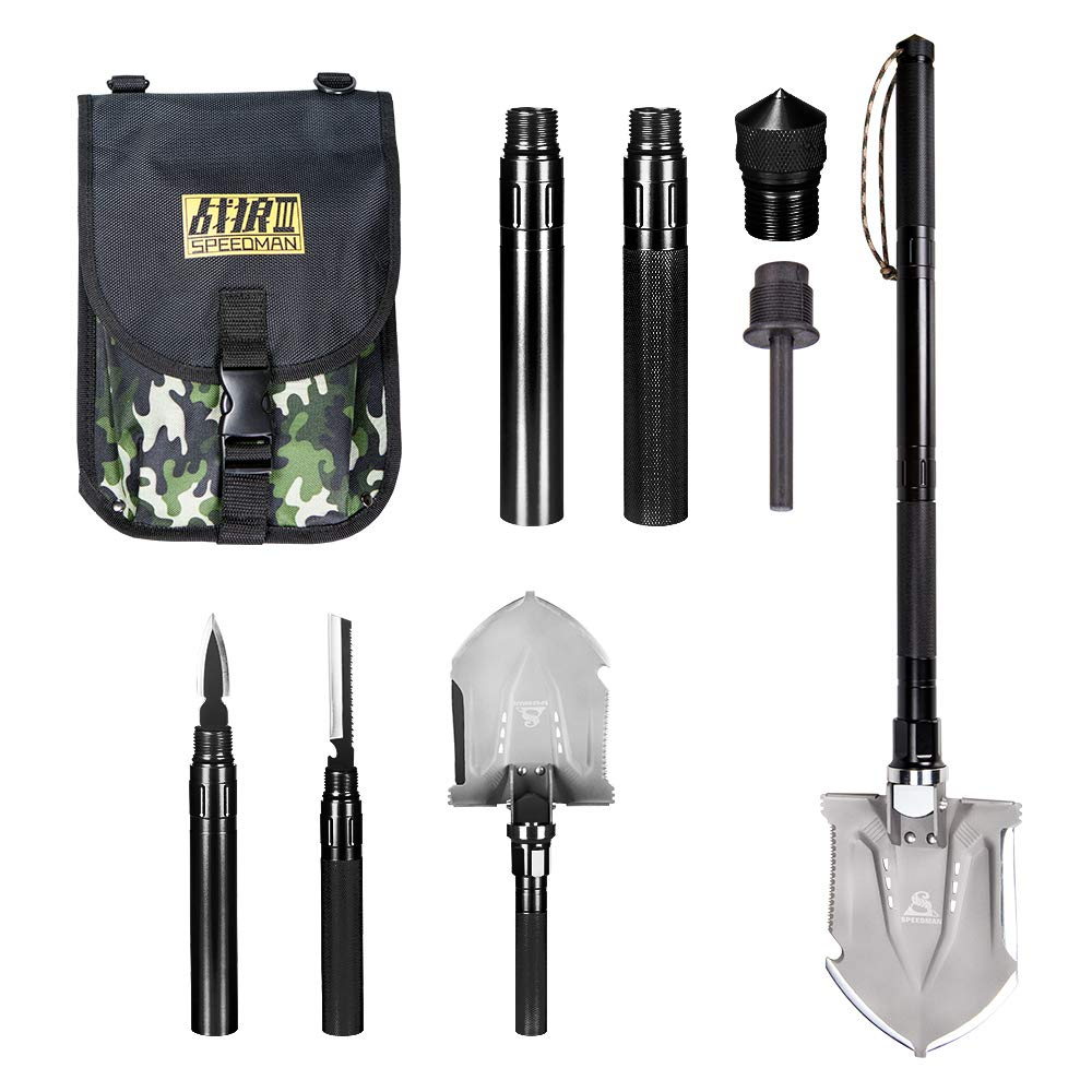 Wanlusha Folding Shovel, Portable Military Shovel with Tactical Waist Pack, Trench Entrenching Tool, Multi-Function Survival Kit for Outdoors Sporting - Black