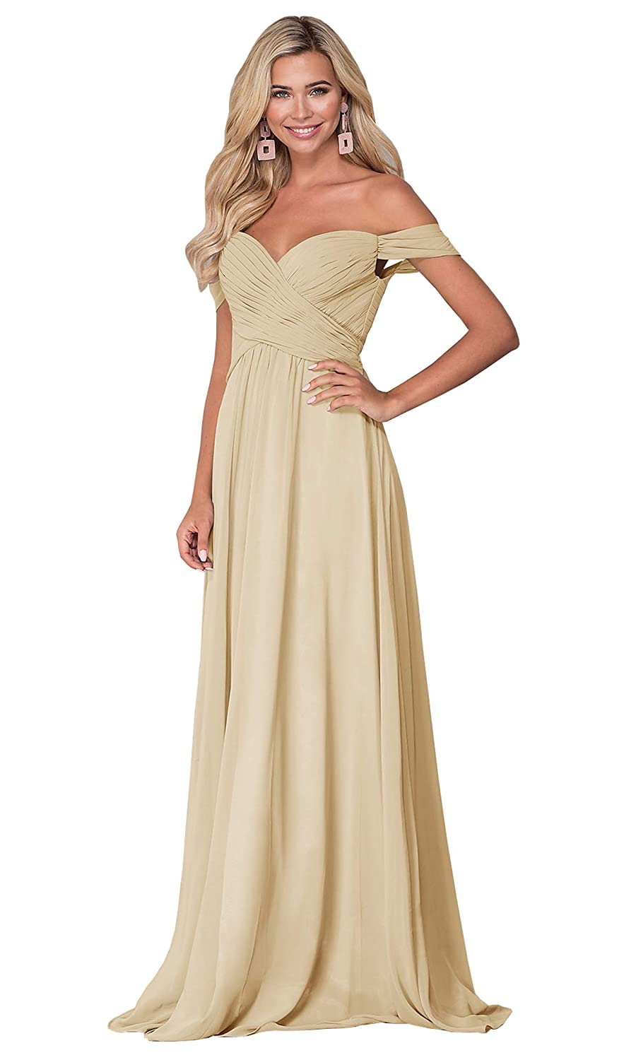 Lianai Womens Off The Shoulder Long Prom Dress Ruched Bodice A-line Formal Party Gown