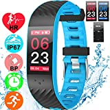 Fitness Tracker waterproof IP67 Watch Heart Rate Blood Pressure Sleep Monitor Activity Tracker for Kids Men Women Outdoor Swimming Sport Smart Wristband 0.96'' Color Screen Pedometer for iOS Android