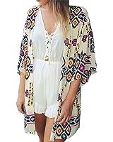JAKY GLOBAL Women's Floral Chiffon Kimono Cardigan Blouse Swimwear Beachwear Bikini Cover up