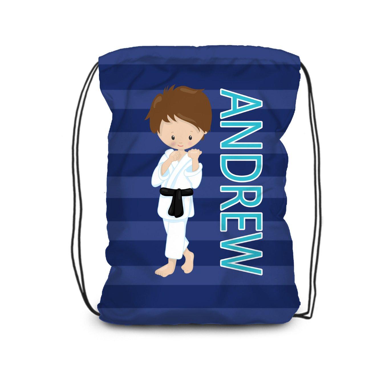Karate Drawstring Backpack - Black Karate Boy Personalized Name Bag