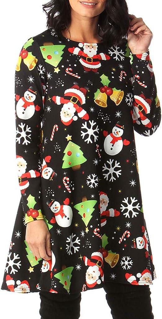 KIKOY Fashion Women Merry Christmas Flare Sleeve Print Casual Party T-Shirt Tops