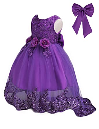 31ba7bf78 21KIDS Elegant Sleeveless Sequins Hem Tulle Long Tail Wedding Party  Princess Gown Pageant Dress,Purple