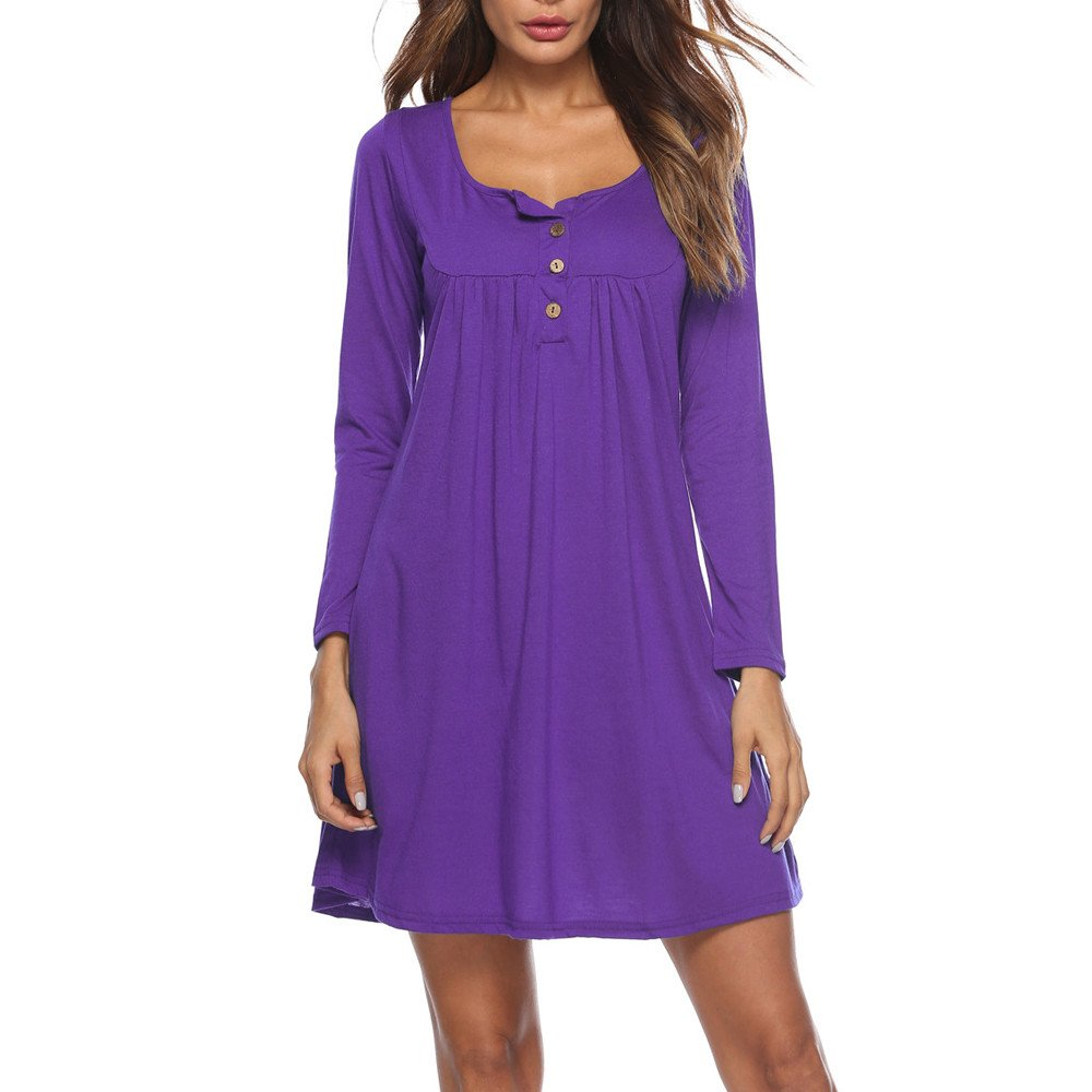 Libermall Women's Dresses Casual Solid Button Long Sleeve Beach Sundress Evening Party Mini Dress Purple